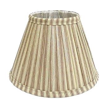 table étroite Better & Best 0213258 bicolore à rayures Taupe et Vert écran de lampe de soie de 25cm