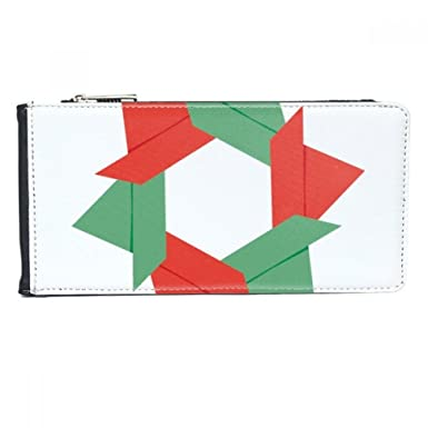 Amazon abstract christmas flower origami pattern multi card abstract christmas flower origami pattern multi card faux leather rectangle wallet card purse gift mightylinksfo