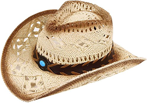 Cowgirl Straw Hat with Blue Stone
