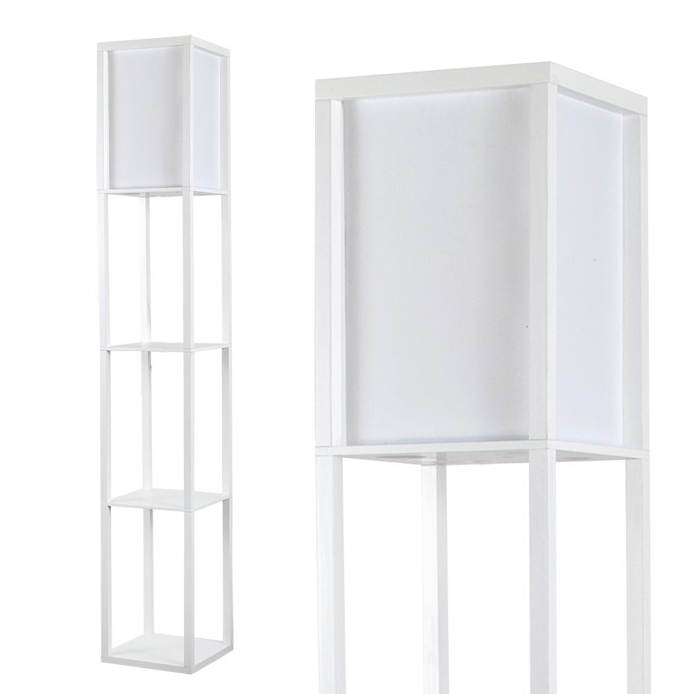 Modern Oak Wooden & White Fabric Floor Lamp with Built In Shelving Units MiniSun