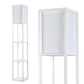 Modern white wooden white fabric floor lamp with built in modern white wooden white fabric floor lamp with built in shelving units aloadofball Images