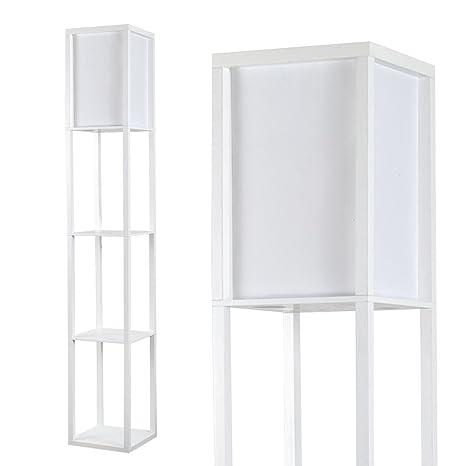 MiniSun – Moderna lámpara de pie Struttura - de madera blanca y tela blanca - con 3 repisas