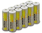 Hitech - 10 Pack High-Capacity Ni-MH Rechargeable 2500mAh Batteries for EyeClops Night Vision Infrared Stealth Goggles