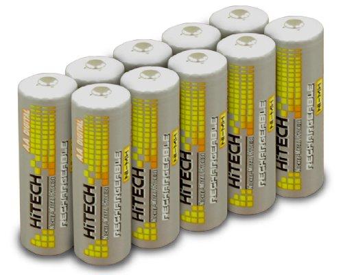 Hitech - 10 Pack High-Capacity Ni-MH Rechargeable 2500mAh Ba