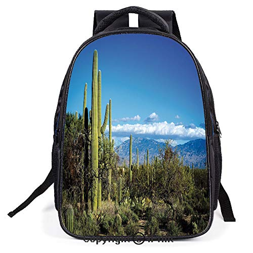 School Bag,Wide View of the Tucson Countryside with Cacti Rural Wild Landscape Arizona Phoenix,Suitable for Kids,School Backpack,Travel Hiking Bag Backpack