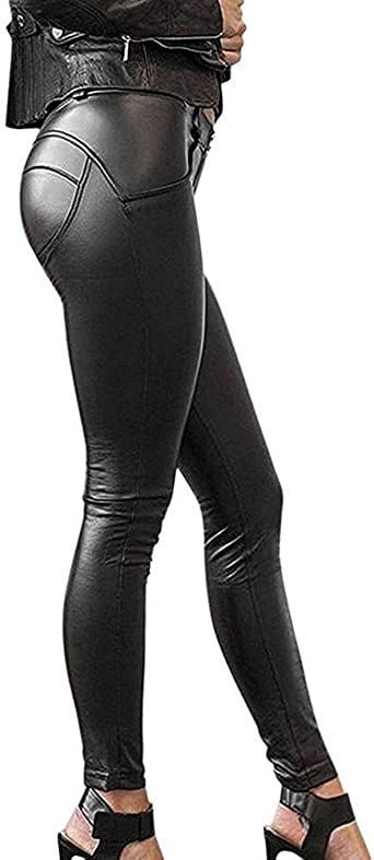 Laisla Fashion Pantalones De Cuero Para Mujer Legging Clasico Elastico Stretch Pu Look De Cuero Optica Pantalones Negros Delgados Faux Leather Treggins Moda 2020 Ropa De Mujer Amazon Es Ropa Y Accesorios