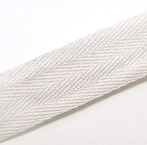 QIANF Twill Tape Ribbon 100% Cotton White 1/2 Inch Wide 50 Yard Roll Herringbone Tape(1/2 Inch-50Yard, White)