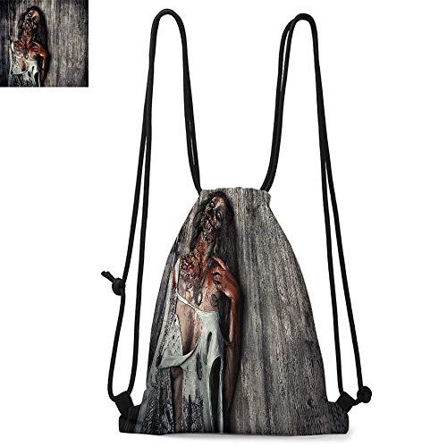 Zombie Decor Made of polyester fabric Angry Dead Woman Sacrifice Fantasy Mystic Night Halloween Image Waterproof drawstring backpack W13.4 x L8.3 Inch Dark Taupe Peach Red