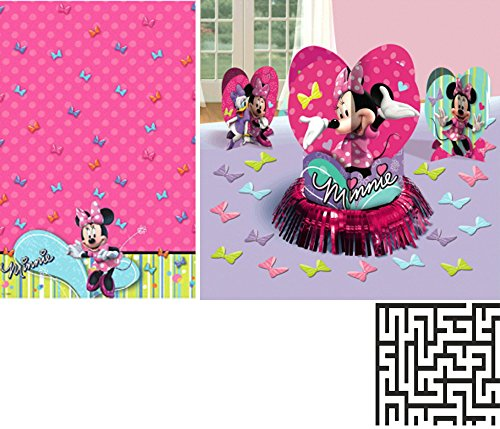 (Minnie Mouse Table Cover and Table Decorating Kit Birthday Party Bundle - Includes 1 Maze Game Activity Card by ClassicVariety)
