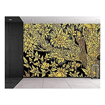 Black and Gold Thai Temple Fresco - Peacock in Tree with Blooming Flowers - Wall Mural, Removable Sticker, Home Decor - 100x144 inches