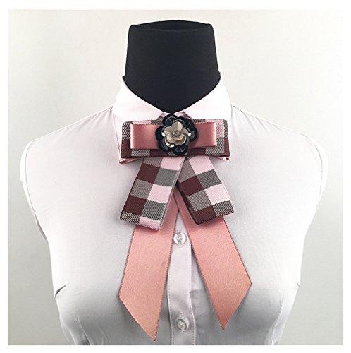 Satin Ribbon Bowknot Brooch Pin Ribbon Rhinestone Necktie Pre Tied Neck Tie Wedding Party Bow Tie (Pink Ribbon Brooch)