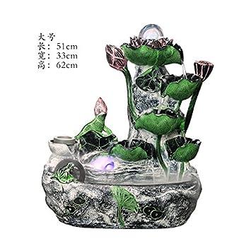 UHDHY Rocalla agua acuario decoracion oficina Feng Shui suerte Rotary driblar Fountain humidificador sala de estar abriendo regalos,Nebulizador con rima: ...