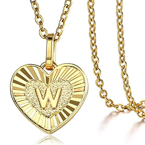Trendsmax Heart Love Initial Letter A to Z Alphabet Pendant Necklace Gift for Women Girls Gold Plated Stainless Steel Rolo Link Chain Necklace Length Personalized