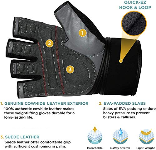 Bodybuilding RDX Weight Lifting Gloves for Gym Workout,Breathable Powerlifting /& Strength Training Cowhide Leather with Padded Anti Slip Palm Protection,Great for Fitness Exercise