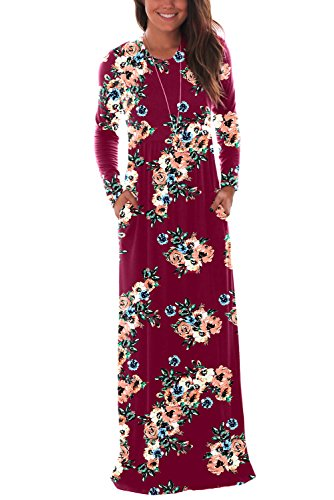 DawnRaid Women's Casual Loose Pocket Maxi Party Long Dresses With Sleeve Wine Red Floral Print - Sleeve Maternity Dress Pleat