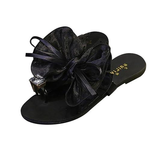 205842230 BSGSH Women's Fashion Ribbon Flower Bow Knot Rhinestone Toe Ring Slide Flat  Sandals for Summer (