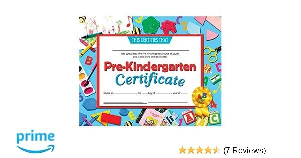 """.com: hayes 078300 pre-kindergarten certificate, 8-1/2"""" x 11 ..."""