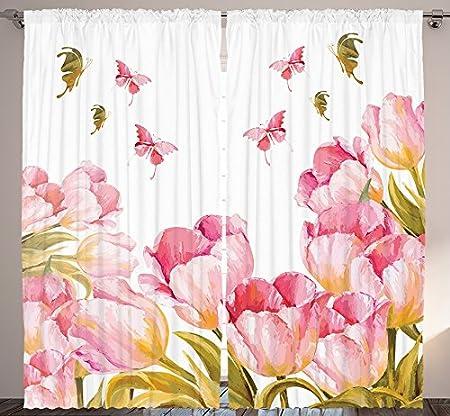 Ambesonne Digital Print Curtains Bedroom Living Room Floral ...