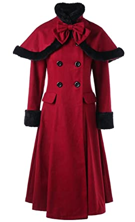 f31d1f15828 ouxiuli Women s Winter Cape Double Breasted Swing Mid Long Wool Blend  Overcoat Pea Coat Wine Red