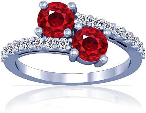 Platinum Round Cut Ruby Ring With Sidestones