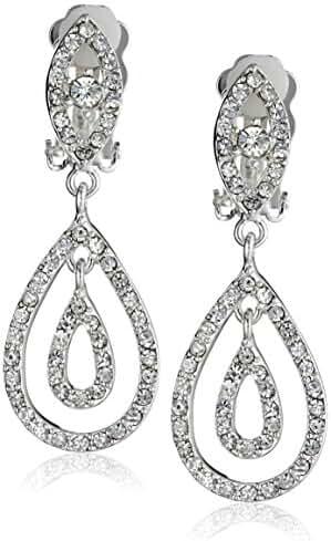 Silver Crystal Rhinestone Two Layer Teardrop Pear Shaped Dangle Clip Earrings Tipped with Eye Shape