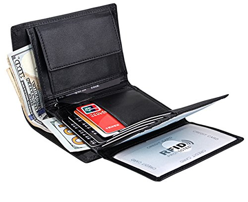 Wallet for Men With Coin Pocket RFID Leather Card Holder Big Trifold 3 ID Windows (Plain Black) ()