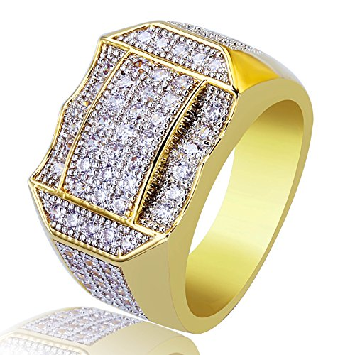 TOPGRILLZ Men 14K Gold Plated Cluster Iced Out Diamond Bling Pinky Ring (11)