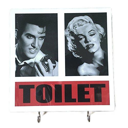 Elvis Presley Vintage Clock (Agility Bathroom Wall Hanger Hat Bag Key Adhesive Wood 2 Hooks Vintage Elvis Presley & Marilyn Monroe Toilet's Photo)