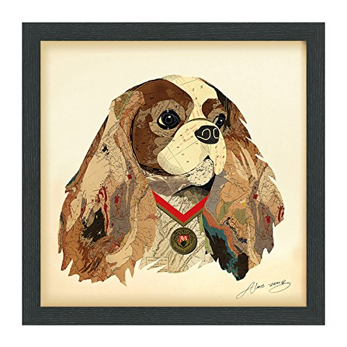 (Empire Art Direct King Charles Spaniel Dimensional Collage Handmade by Alex Zeng Framed Graphic Dog Wall Art, 17
