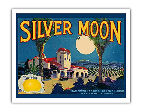 Lemon Fruit Crate Label - Pacifica Island Art Sunkist Lemons - Silver Moon Brand - San Fernando, California - Vintage Fruit Crate Label c.1930s - Fine Art Print - 11in x 14in