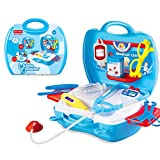Doctor Kit Pretend Play Medical Set Case Doctor Nurse Game Playset Gift for Kids Boys Girls Over 3 Years Old (Blue)