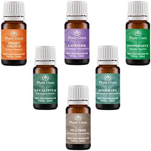 Essential Oil Variety Set Kit - 6 Pack - 100% Pure Therapeutic Grade Oils 10ml. Includes Peppermint, Lavender, Sweet Orange, Rosemary, Eucalyptus & Tea Tree