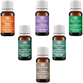 Essential Oil Variety Set Kit - 6 Pack - 100% Pure Therapeutic Grade 10ml. Set includes- (Peppermint, Lavender, Sweet Orange, Rosemary, Eucalyptus & Tea Tree)