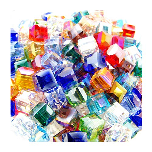 (6mm Multicolor Crystal Beads Square Glaze Glass Bead Quartz Loose Beads for DIY Jewelry Making Accessory)