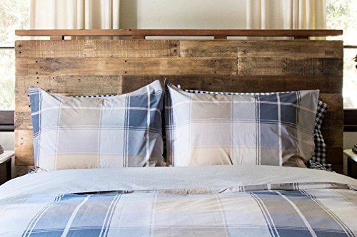 Beige, Charcoal Gray and Blue Madras Plaid Duvet