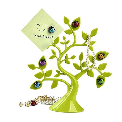 Creative Lucky Ladybug Tree Shape Refrigerator Magnets Desktop Message Stickers Memo Clip Holder Home Office Decoration –Green ( 1 Tree+6 PCs (Shape Magnetic Memo Holder)