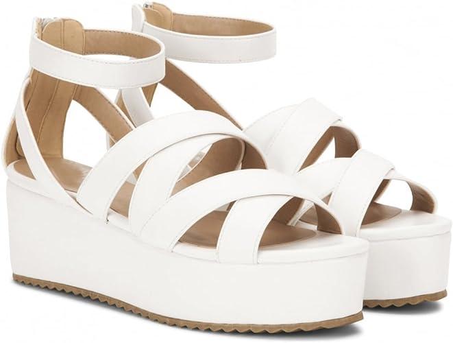 Shoe Closet Ladies White Flatforms