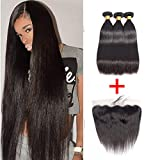 Straight Human Hair 3 Bundles With Free Part 13X4 Lace Frontal Closure Brazilian Virgin Human Hair Natural Color(20'' 22'' 24''+18'')