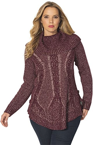 Women's Plus Size Cowl Neck Cable Pullover – 1X, Midnight Berry Blush