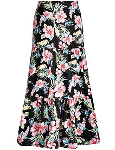 Tropical Print Skirt - SSLR Women's Tiered Skirt Flower Print Hawaiian Casual Long Maxi Skirt (X-Large, Black)