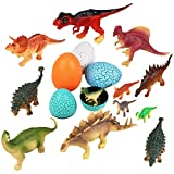Peradix Dinosaurs Toys Assorted Figures Plastic Family Animal Set with T-Rex, Stegosaurus, Triceratops, Maps and Eggs Pack of 16 Easter Day Gift for Toddlers