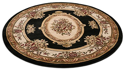 Well Woven 36330 Timeless Le Petit Palais Traditional Medallion Black Area Rug 5'3