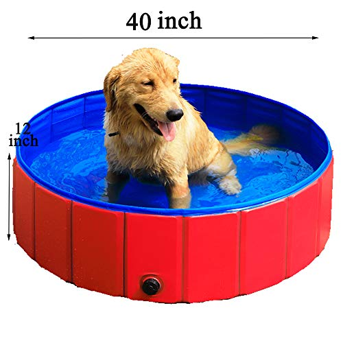 GRULLIN Swimming Pool for Dog Portable Foldable Pet Pool Dogs Cats Bathtub (40by12inch) ()