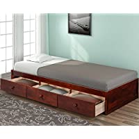 Haper & Bright Designs Twin Size Platform Storage Bed with 3 Drawers (Brown Cherry)