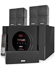 Pyle 5.1 Channel Amplifier Speaker System - 300W Bluetooth Wireless Surround Sound Home Theater Audio Stereo Power Receiver Box Set w/Built-in Subwoofer, 5 Speakers, Remote, FM Radio, RCA PT589BT