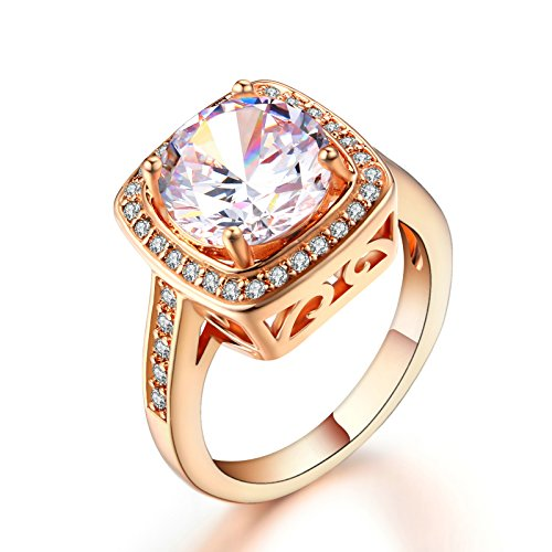 Double Fair Square Cut Big Crystal Wedding Rings 18K Rose Gold Plated 3 Colors Optional Fashion Jewelry For Women (Size 5.5-10) (White, ()
