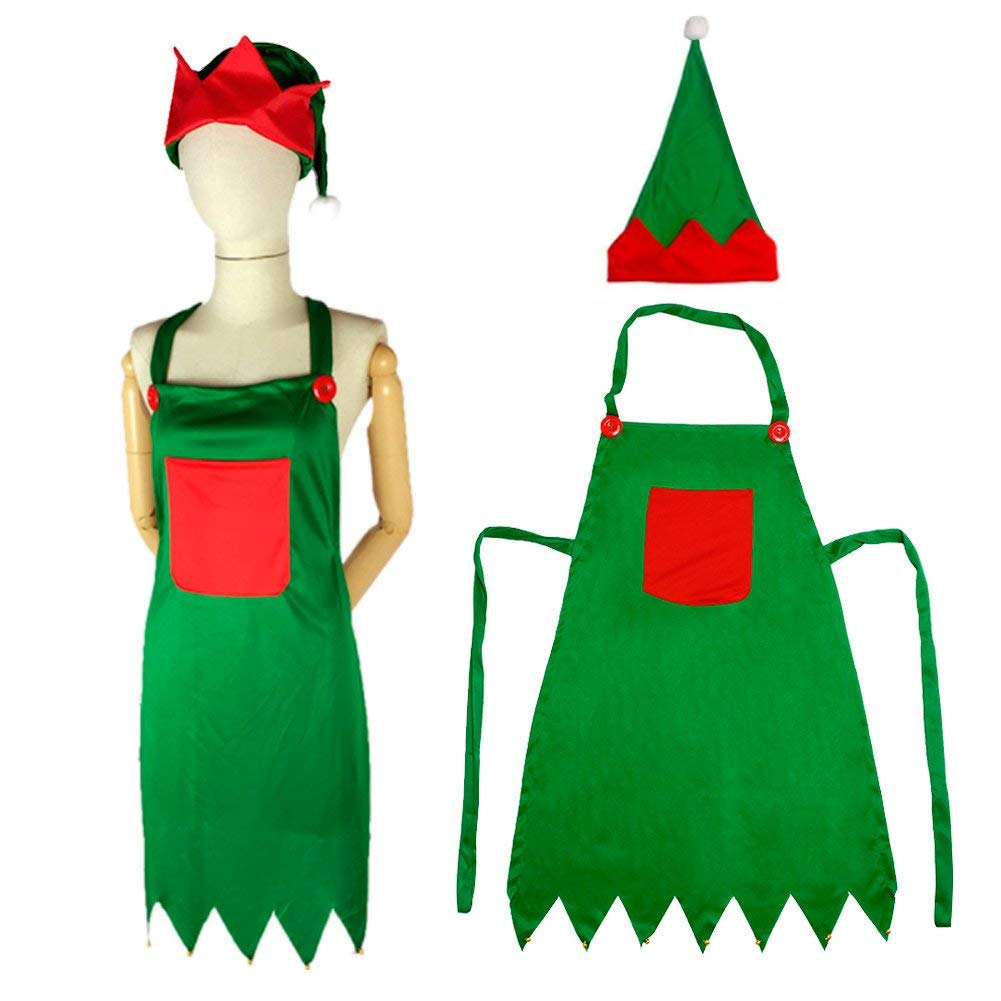 LoveInUSA Elf Apron Christmas Elves Apron Santa Elf Hats for Adult April Fool\'s Day Gifts