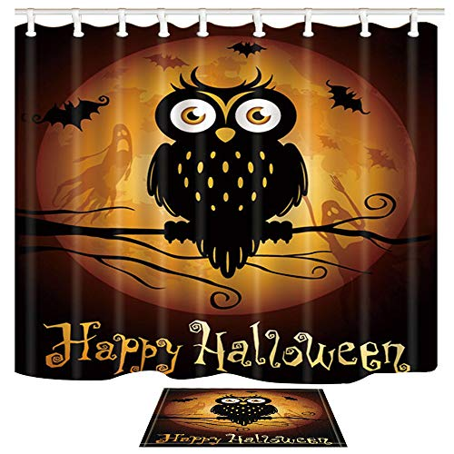 ChuaMi Happy Halloween Shower Curtain Set, Owl and Moon Ghost Orange Background, Waterproof Bathroom Decor Design Polyester Fabric 69 x 70 Inches with Hooks and Anti-Slip 40 x 60cm Bath Mat]()