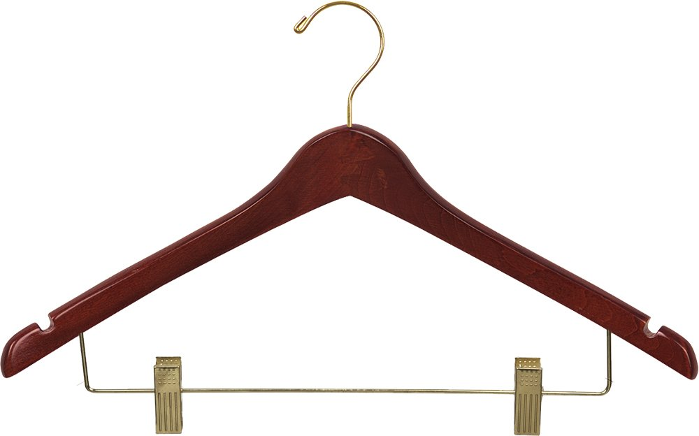 Box of 50 17 Inch Wooden Hangers w//Walnut Finish /& Brass Swivel Hook /& Notches for Shirt Jacket or Dress B0072HWQJM The Great American Hanger Company Curved Wood Combo Hanger w//Adjustable Cushion Clips