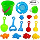 Lumiparty Kids Beach Toys Set[15PACK] Beach sand Toy Set Sand Toys Bucket, Shovels, Rakes, Watering Can, Molds,will keep your child motivated for hours, colors may vary.
